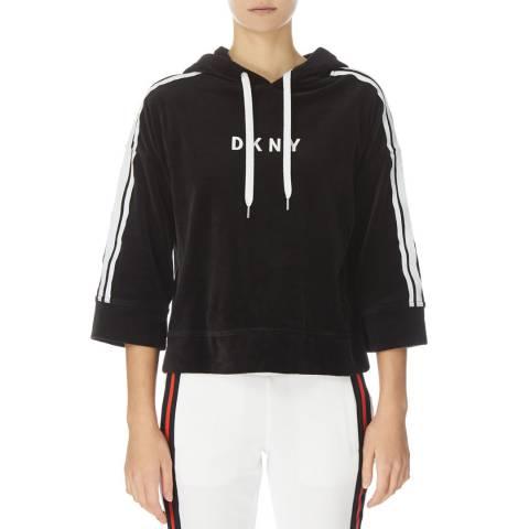 DKNY Black Boxy Hoody Sweatshirt