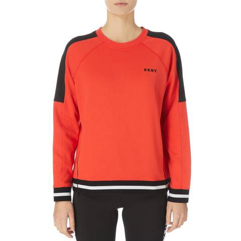 DKNY Orange Boxy Colour Block Sweatshirt