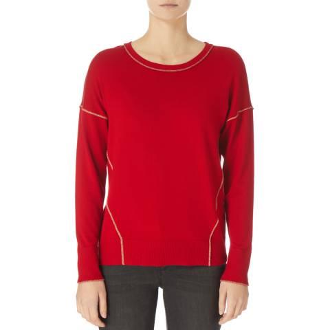 DKNY Red Crew Neck Knit Sweat