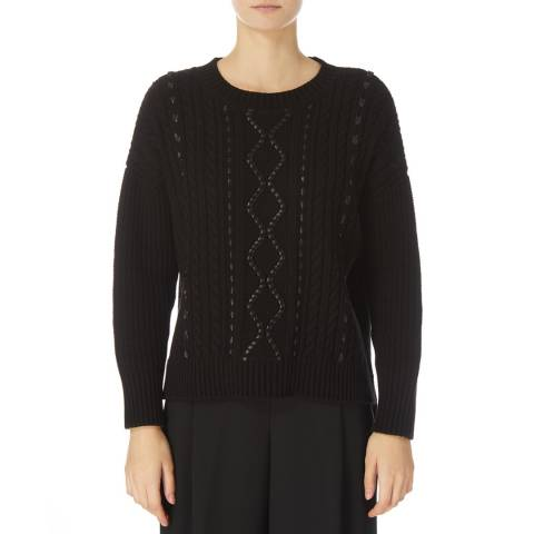 DKNY Black Long Sleeve Cable Knit Sweater