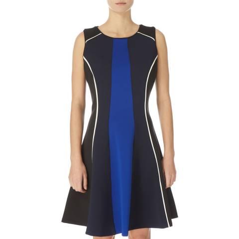 DKNY Black/Blue Sleeveless Knit Dress