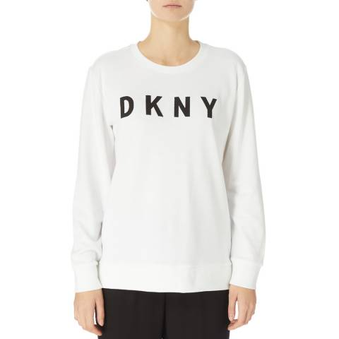 DKNY White Crew Neck Logo Knit