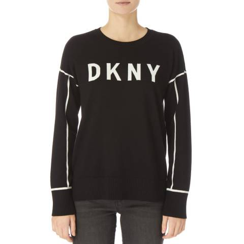 DKNY Black Crew Neck Logo Sweater