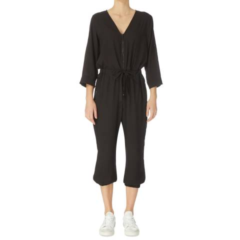 DKNY Black Roll Tab Sleeve Jumpsuit