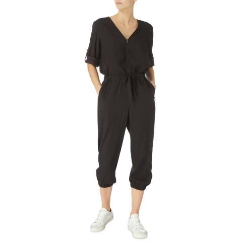 DKNY Black Roll Tab Sleeve Jumpsuit