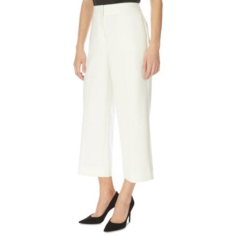 DKNY Cream Cropped Wide Leg Trousers