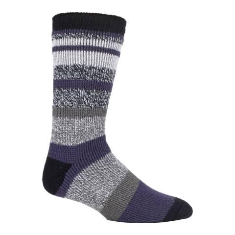 Heat Holders Black/Multi Mens Block Twisted Stripe Socks