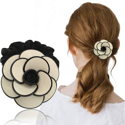 White label by Liv Oliver Ivory & Black Camellia Flower Hair Tie