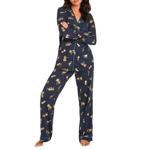 Chelsea Peers Navy Paradise Long PJ Set