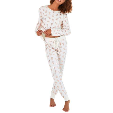 Chelsea Peers White Foil Pineapple Long PJ Set
