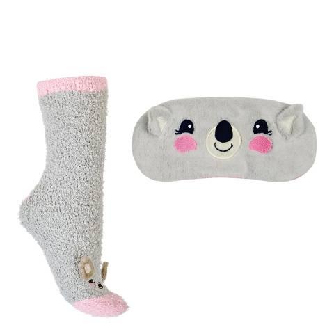 Chelsea Peers Grey Fluffy Koala Sock And Eye Mask