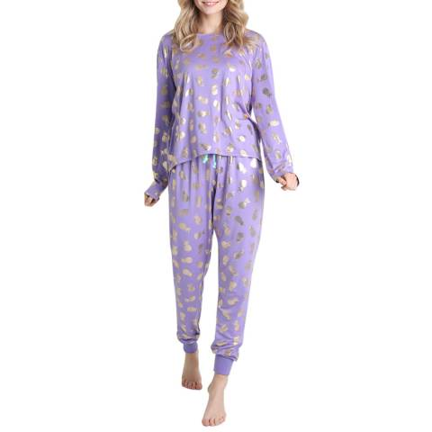 Chelsea Peers Purple Foil Pineapple Long PJ Set