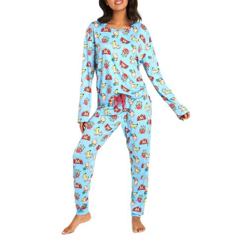 Chelsea Peers Blue Corgi Fruit Long PJ Set