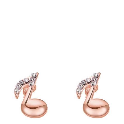 Ma Petite Amie Swarovski Elements Rose Gold Musical Note Earrings