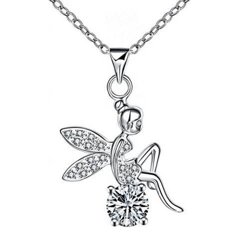 Ma Petite Amie Swarovski Elements Silver Plated Angel Necklace