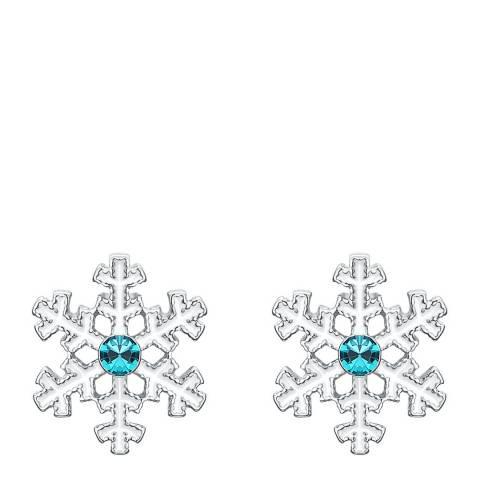 Ma Petite Amie Swarovski Elements Platinum Snowflake Stud Earrings