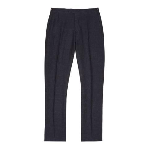 Reiss Indigo Portofino Linen Slim Suit Trousers