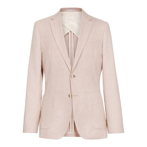 Reiss Pink Cosmopolitan Linen Blend Slim Suit Jacket