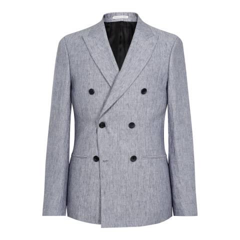 Reiss Soft Blue Linen Slim Suit Jacket