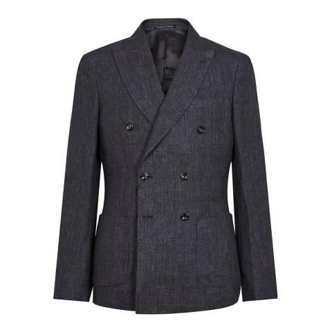Reiss Charcoal Leach Linen Slim Suit Jacket