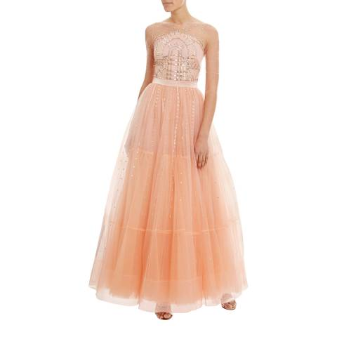 Temperley London Peach Cannes Silk Insert Gown