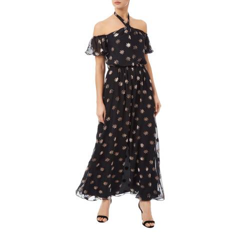Temperley London Black Velvet Star Silk Blend Twist Dress