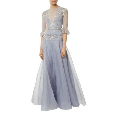 Temperley London Blue Jewellery Silk Long Dress