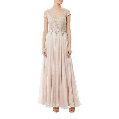 Temperley London Beige Long Silk Blend Lantern Dress