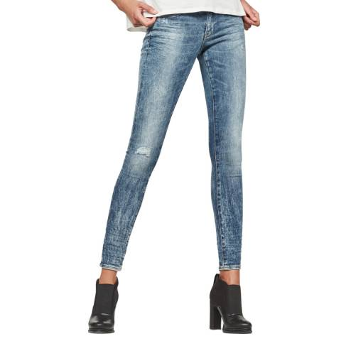 G-Star Blue Distressed Zip Skinny Stretch Jeans
