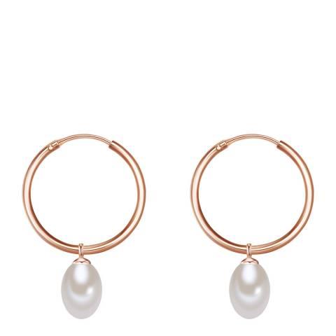 Yamato Pearls White/Rose Gold Pearl Hoop Earrings