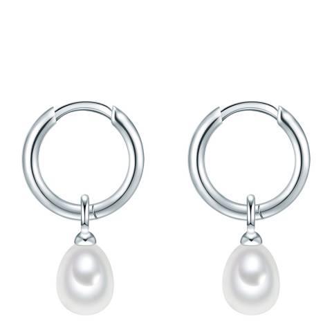 Yamato Pearls White/Silver Pearl Hoop Earrings