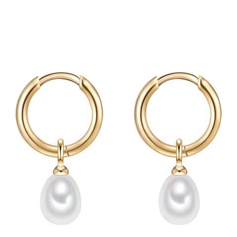 Yamato Pearls White/Gold Pearl Hoop Earrings