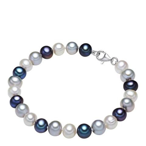 The Pacific Pearl Company White/Silver/Blue Pearl Bracelet