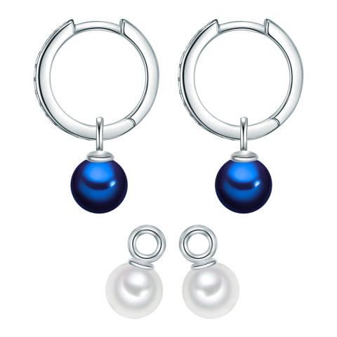 Nova Pearls Copenhagen White/Blue Pearl Hoop Earring Set