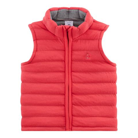 Petit Bateau Red Sleeveless Quilted Jacket