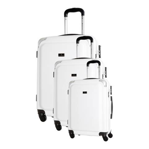 Platinium White Riverlea 4 Wheel Suitcase Set S/M/L