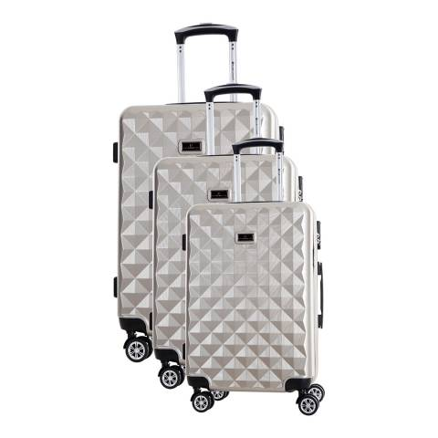 Platinium Beige Greenlane 8 Wheel Suitcase Set S/M/L