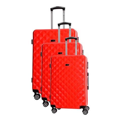 Platinium Red Greenlane 8 Wheel Suitcase Set S/M/L