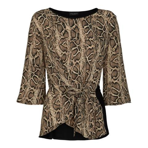 James Lakeland Brown/Multi Snake Front Knot Blouse