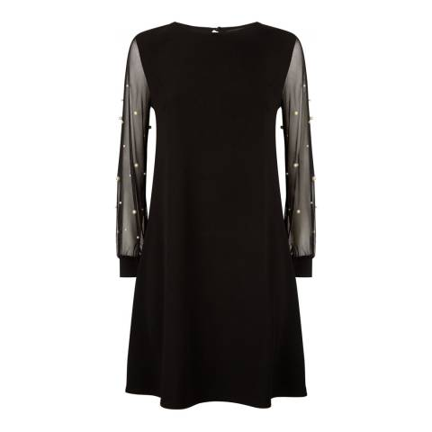 James Lakeland Black Net Pearl Sleeve Dress