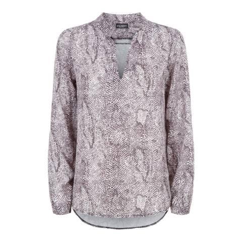 James Lakeland Grey Mandarin Collar Print Blouse