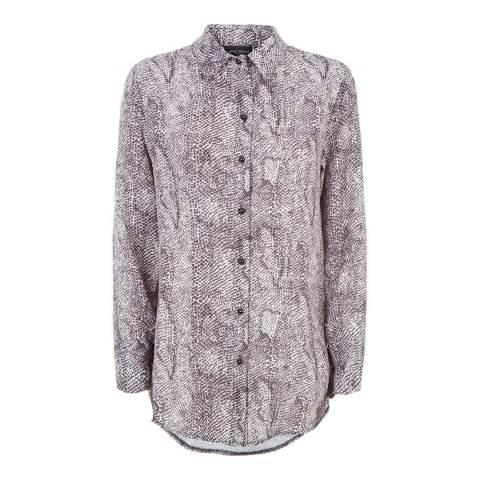 James Lakeland Grey Point Collar Print Shirt