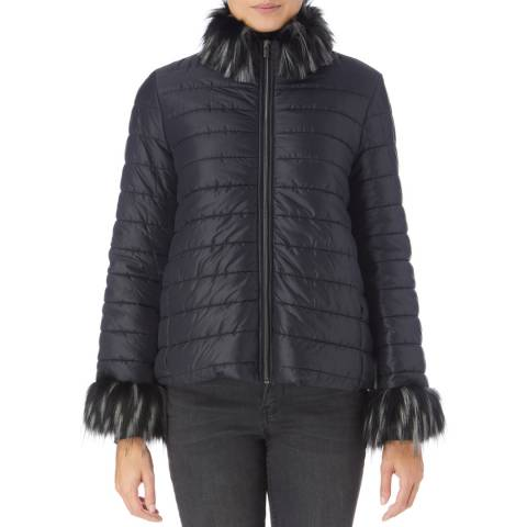 James Lakeland Black Faux Fur Short Puffa Jacket