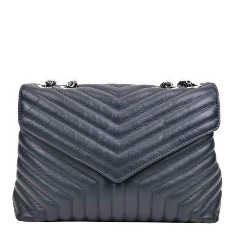 Luisa Vannini Navy Leather Shoulder Bag