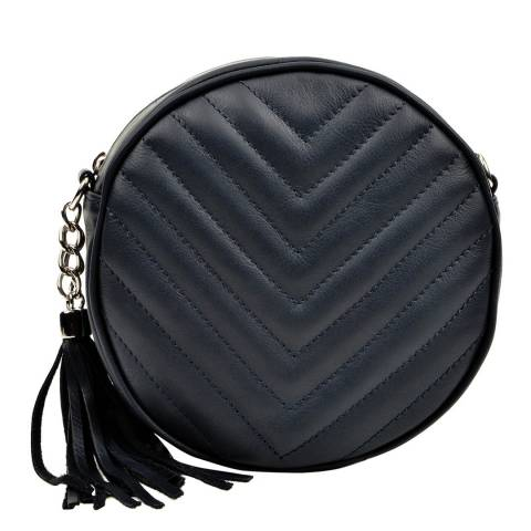 Luisa Vannini Navy Leather Crossbody Bag