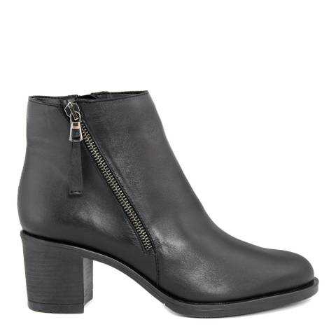 Bluetag Black Leather Ankle Boot