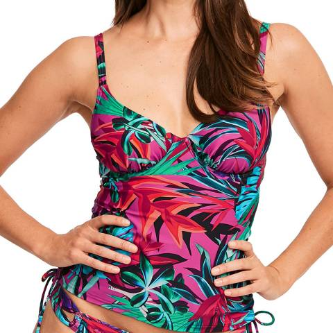 Figleaves Tropical/Fern Bahama Palm Underwired Tummy Control Tankini Top C H Cup