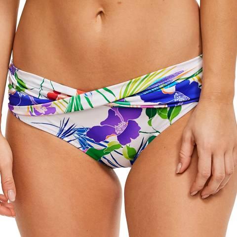 Figleaves White Floral Santa Monica Twist Fold Bikini Brief