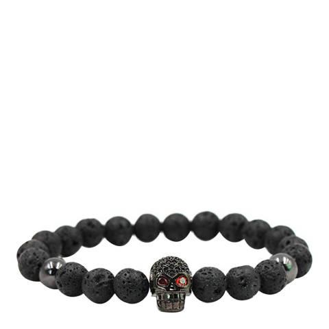 Stephen Oliver Black Lava Skull CZ Bracelet
