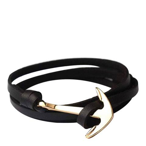 Stephen Oliver Black / Gold Anchor Leather Wrap Bracelet